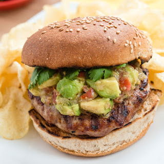 Spicy Turkey Burgers with Avocado and Shallot Relish.