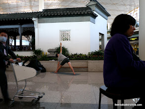 Photo: Bejing Airport: This particular morning an amazing yoga man put on an impressive show