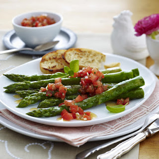 Asparagus with Fresh Salsa and Balsamic Reduction.
