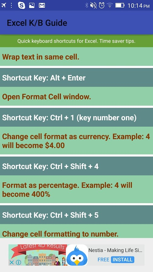 Excel keyboard guide (quick time saver tips)- screenshot