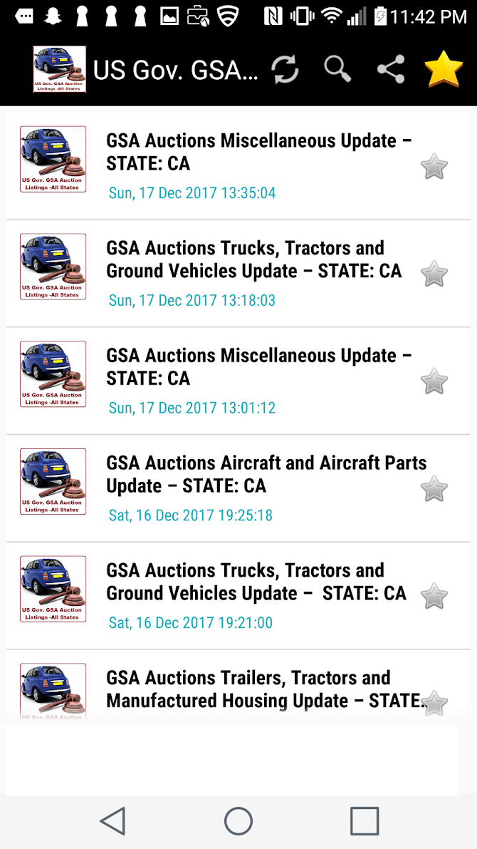 US Goverment GSA Auction Listings - All States Android 11