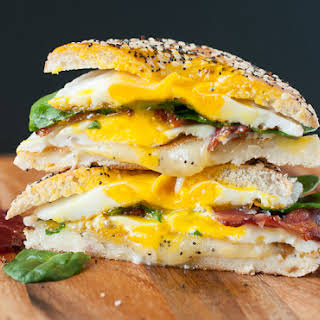 Everything Bagel Grilled Cheese Breakfast Sandwich.