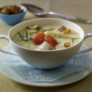 White Asparagus Soup with Smoked Salmon.