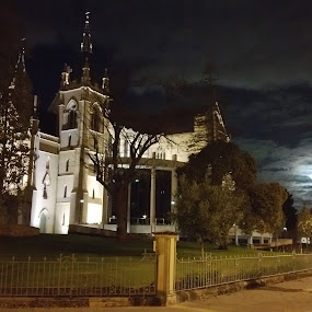 Spooky moonlit church  by Clarissa Human - Instagram & Mobile Android ( full moon, church, night, night lights, night photography )