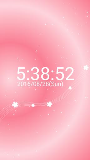 桜 デジタル 卓上 時計 白い 桜 無料版 グラデーション