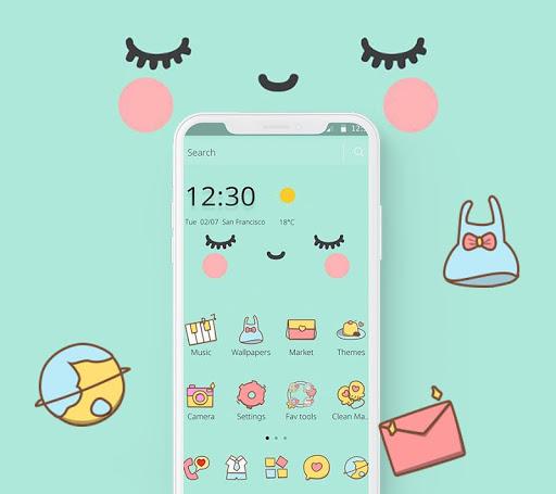 Blue Cute Cartoon Sweet Face Theme 1.1.12 3