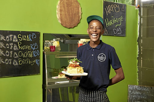 Chef Phahla Thobejane makes traditional kotas with a gourmet touch at his Ke Monate restaurant in Johannesburg.