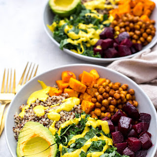 Sheet Pan Buddha Bowls with Turmeric Tahini Dressing.