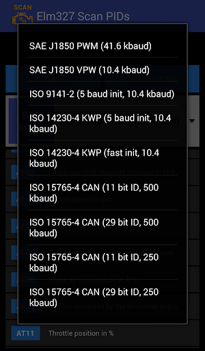 Elm327 Scan PIDs screenshot