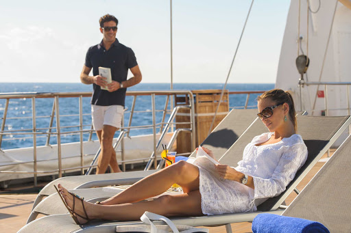 Take time to relax on deck during your voyage on the luxury yacht Le Ponant.