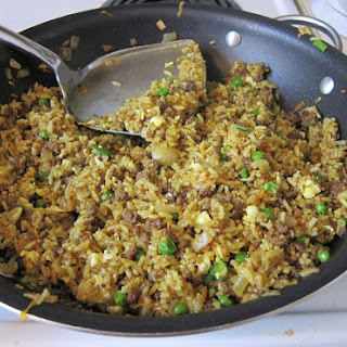 Ground Beef Fried Rice with Curry Powder.