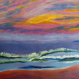 Painting by Rahul Manoj - Novices Only Landscapes ( orange, blue, waves, green, yellow )