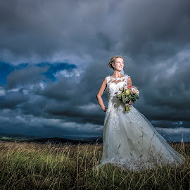 Bride on the Moors.. by Peter Anslow - Wedding Bride ( wedding photography, weddings, wedding dress, wedding photographer, bride )
