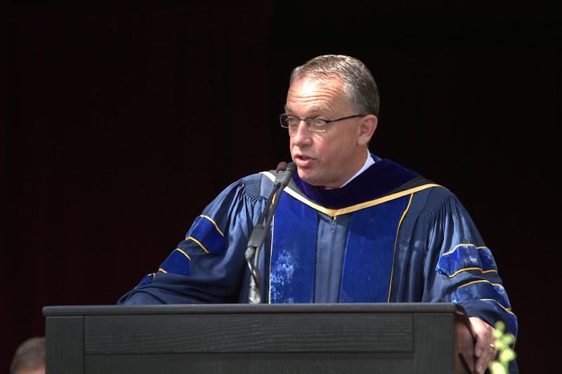 Photo: Provost David Nystrom addresses the graduates