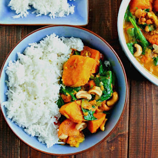 Sweet Potato, Spinach & Cashew Curry.
