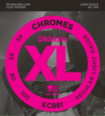 DADDARIO ECB81 Chromes Flat Wounds 45-100 Long Scale