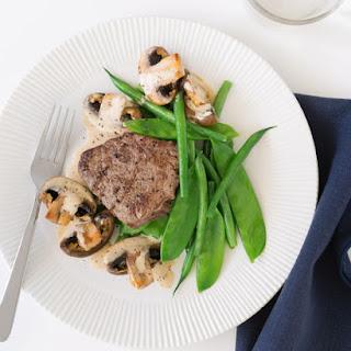 Beef with Creamy Mustard & Mushroom Sauce