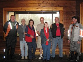 Photo: Sammy, George, Deb, Steve, Jeannie, Ken, & Mike ready to get warm, dry, & eat.