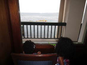 Photo: Watching kayakers from the Monterey Plaza Hotel lobby.
