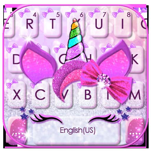 Girly Bowknot Unicorn Keyboard Theme