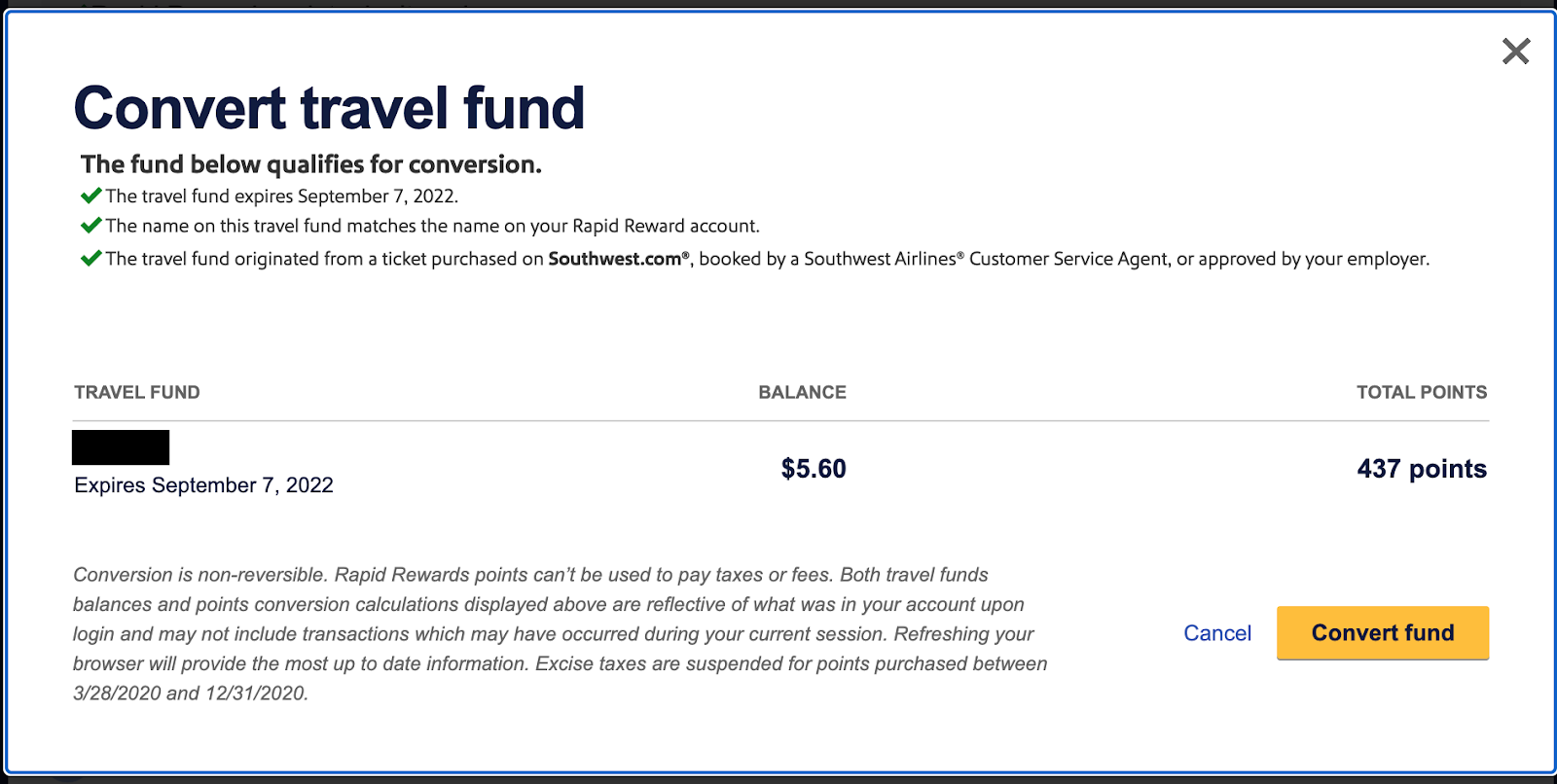 Screenshot of Southwest Travel Funds Confirmation to convert funds