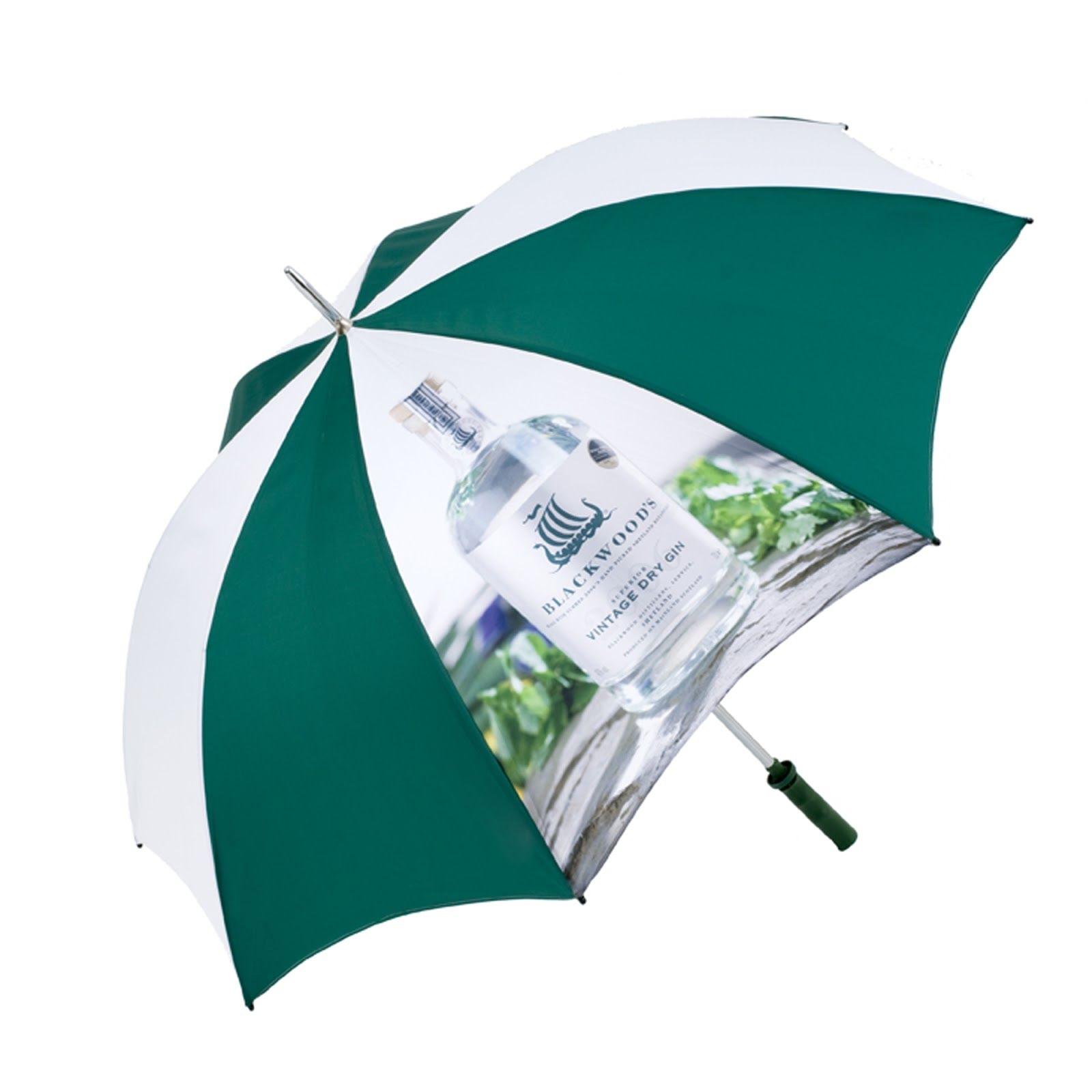 Promotional printed umbrellas green, white, yellow