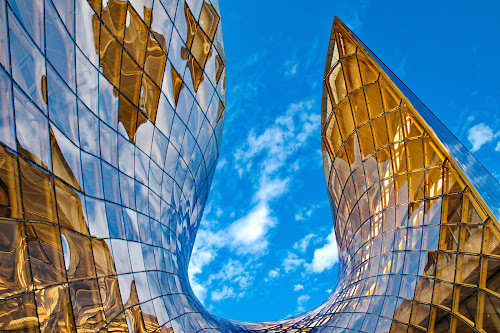 Emporia by Péter Mocsonoky - Buildings & Architecture Architectural Detail ( modern, orange, sweden, shopping center, building, malmö, blue, contemporary, glass, architecture, malmo, yellow, design )