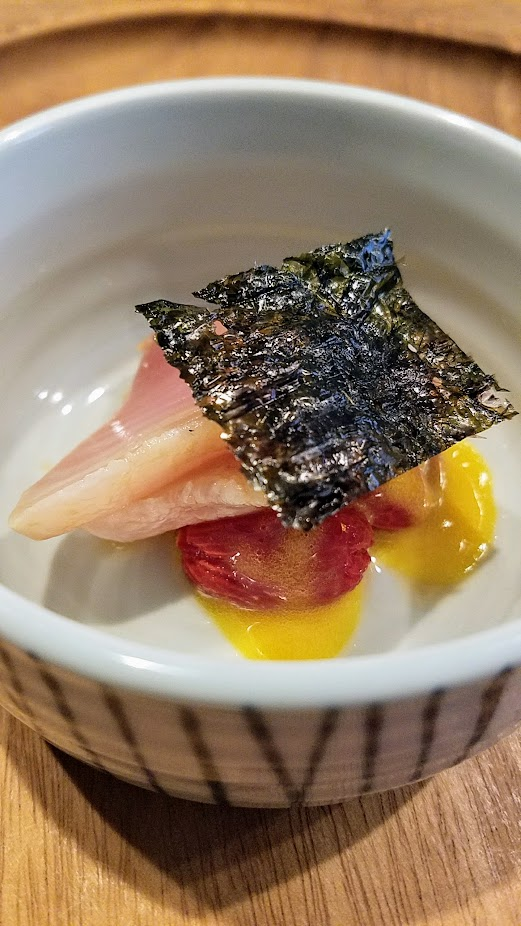 Nodoguro Twin Peaks themed dinner dish of Tuna Salad, Albacore dipped in smoky olive oil, tomatoes in dashi, pickled coriander berry, egg yolk emulsion.