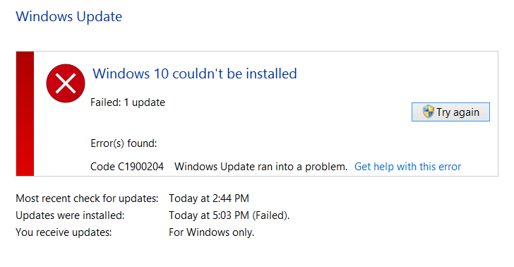 Windows 10 Update Error code C1900204 couldn't be installed