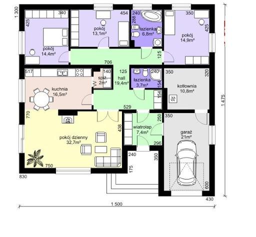 Dom przy Słonecznej 4 bis - Rzut parteru