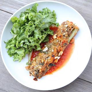 Zucchini Stuffed with Lamb and Mint.
