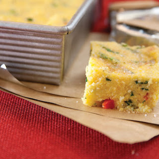 Spinach & Red Pepper Polenta Cakes.