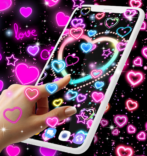 Neon hearts live wallpaper ss3