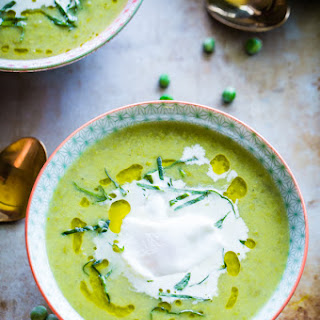 Chunky Pea and Leek Soup with Poached Eggs