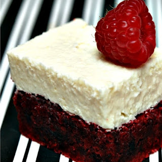 RED VELVET BROWNIE WITH WHITE CHOCOLATE FROSTING.