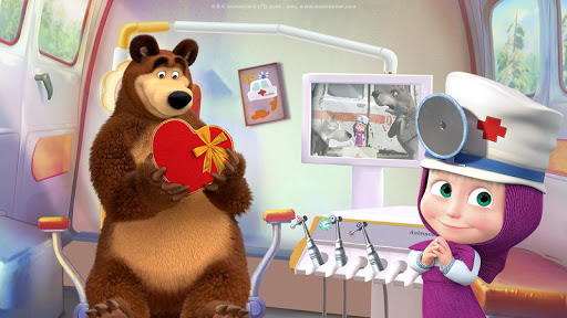 Masha and the Bear: Free Dentist Games for Kids apkpoly screenshots 7