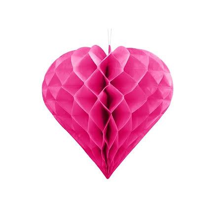 Honeycomb Hjärta - mörkrosa