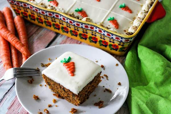 A Slice Of Tennessee Carrot Cake On A Plate.