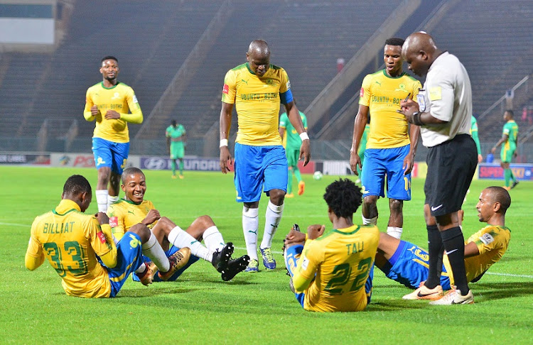 Percy Tau of Mamelodi Sundowns celebrates a goal with teammates during the Absa Premiership 2017/18 football match between Mamelodi Sundowns and Baroka FC at Lucas Moripe Stadium, Pretoria on 05 December 2017.
