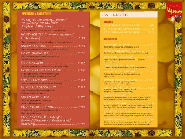 Honey Hut the nature's cafe menu 1