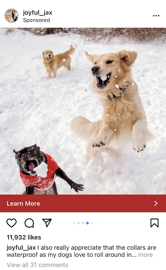 Joyful Jax Instagram ad.