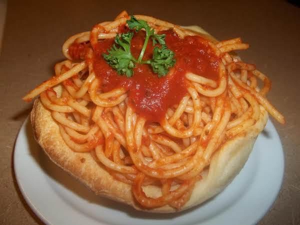 Spaghetti Filled Bread Bowls Recipe