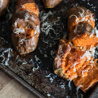 Roasted Sweet Potatoes with Smoked Cheddar.