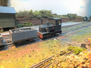"""Photo: 130 Another view of Alf doing a spot of light shunting at Edge. Chris Ford is another modeller who has very successfully followed the """"less is more"""" school of effective layout building in all the narrow gauge layouts of his that I have seen over the years ."""