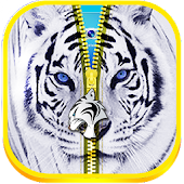 White Tiger Wallpaper Zipper