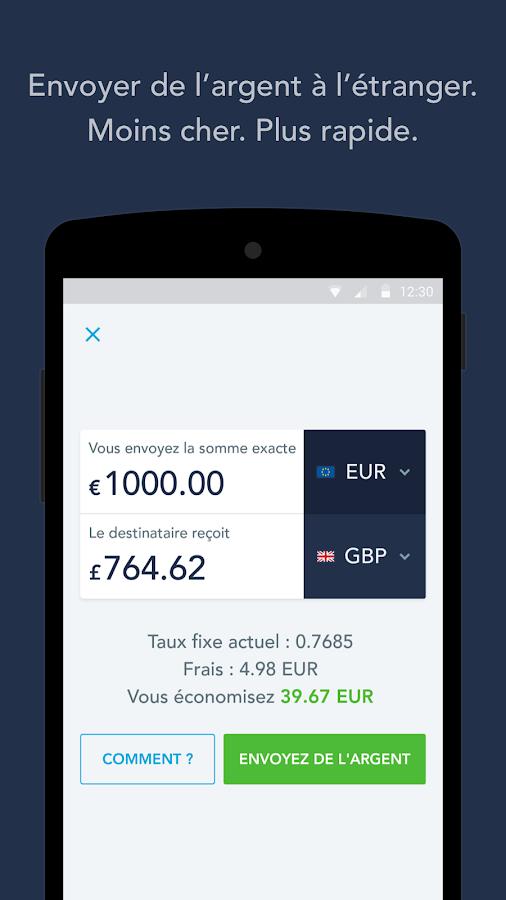 TransferWise Money Transfer – Capture d'écran