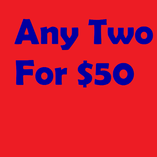 Get ANY two listed titles for $50