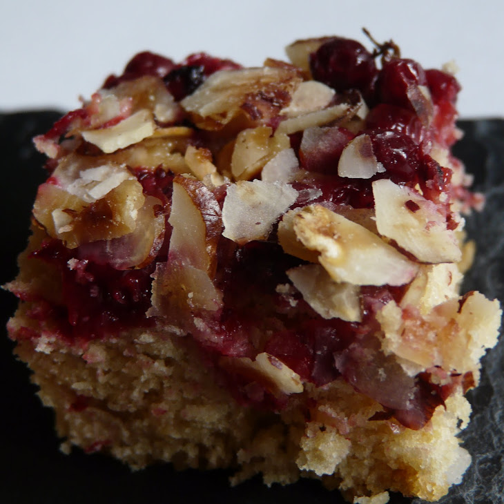 Fresh Cranberries and Hazelnut Blondies, made in honor of President Obama's visit to Copenhagen