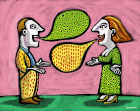 Photo: Man and woman with thought bubbles that match each other's clothing --- Image by © Alberto Ruggieri/Illustration Works/Corbis