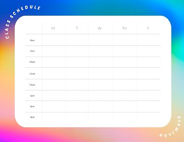 November Class Schedule - Planner Template